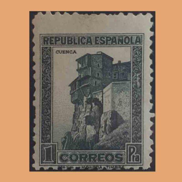 Edifil 673. Personajes y Monumentos. Casas colgantes de Cuenca. Sello 1 pta. 1932