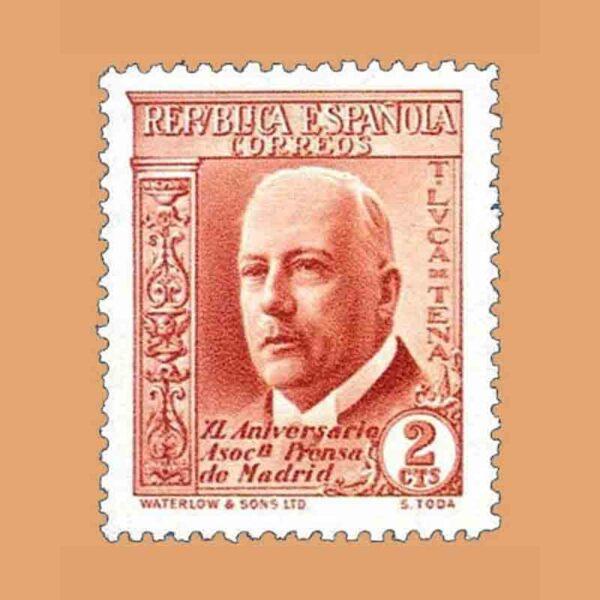 Edifil 696. XL Aniversario Asociación de la Prensa. Luca de Tena. Sello 2 cts. 1936