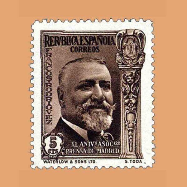 Edifil 697. XL Aniversario Asociación de la Prensa. Francos Rodríguez. Sello 5 cts. 1936