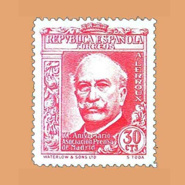 Edifil 702. XL Aniversario Asociación de la Prensa. Alejandro Lerroux. Sello 30 cts. 1936