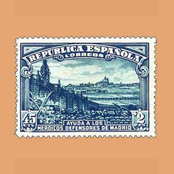 Edifil 757. Defensa de Madrid. Puente de Toledo en Madrid. Sello 45 cts.+2 ptas. 1938