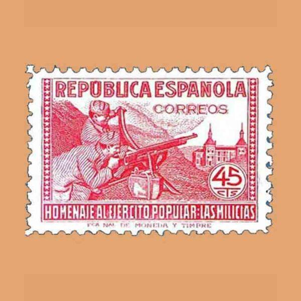 Edifil 795. Homenaje al ejército popular. Sello 45 cts. 1938