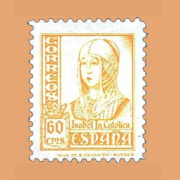 Edifil 826. Cifras, Cid e Isabel la Católica. Sello 60 cts. 1937