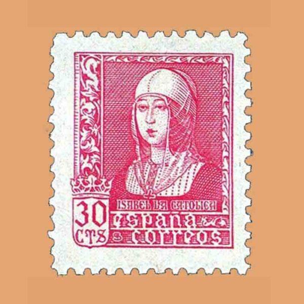 Edifil 857. Isabel la Católica. Sello 30 cts. 1938