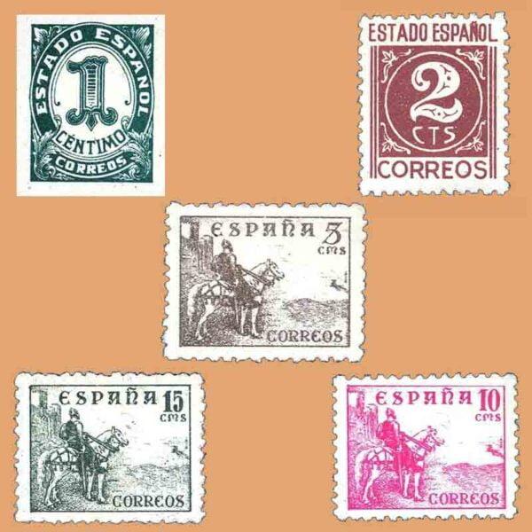 00914-00918. Serie Cifras y Cid. 5 valores. ** 1940