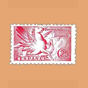 Edifil 952. Pegaso. Sello 25 cts. Rosa. 1942
