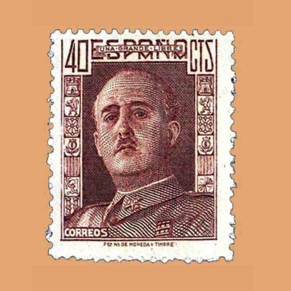 Edifil 953. General Franco. Sello 40 cts. Castaño rojizo. 1942