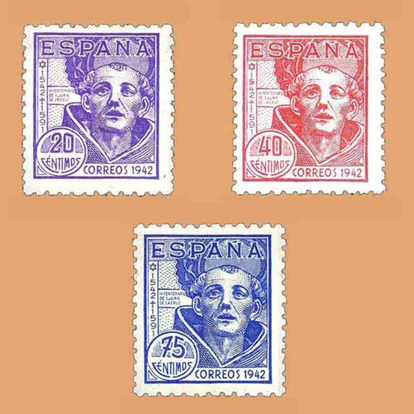 Edifil 954-956. Serie IV Centenario de San Juan de la Cruz. ** 1942