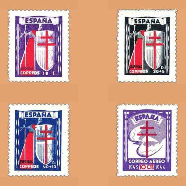 Edifil 970-973. Serie Pro Tuberculosos. 4 valores ** 1943