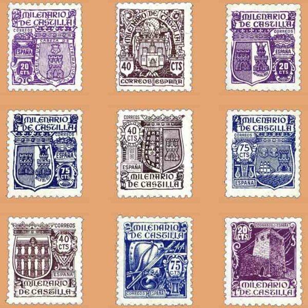 Edifil 974-982. Serie Milenario de Castilla. 9 valores ** 1944