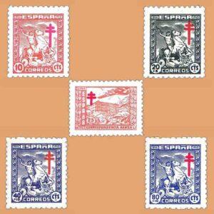 Edifil 984-988. Serie Pro Tuberculosos. 5 valores ** 1944