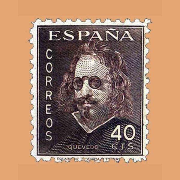 Edifil 989. III Centenario de la muerte de Quevedo. Sello 40 cts. ** 1945