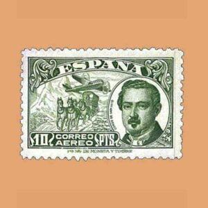 Edifil 990. Conde de San Luis. Sello 10 ptas. verde ** 1945