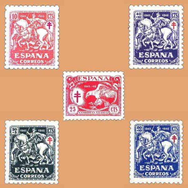Edifil 993-997. Serie Pro Tuberculosos. 5 valores ** 1945