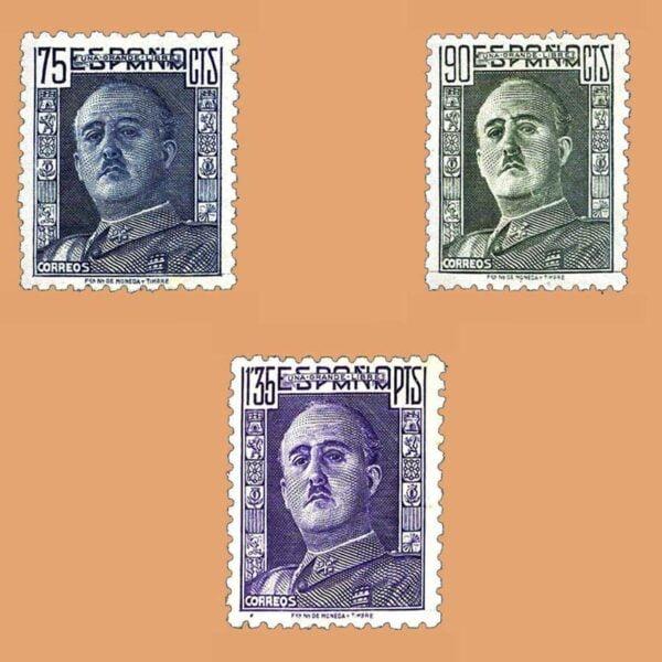 Edifil 999-1001. General Franco. 3 valores. ** 1946