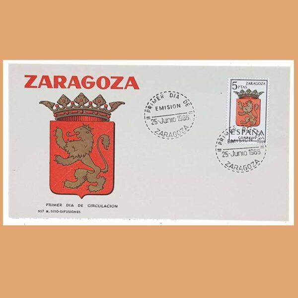 Edifil 1701 PD. Escudo Zaragoza 1966. Sobre Primer Día