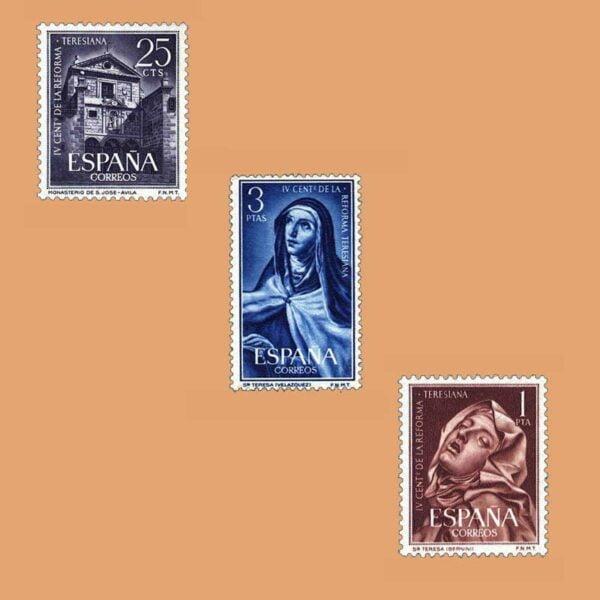 Edifil 1428-1430. Serie IV Centenario de la Reforma Teresiana. 3 valores. ** 1962