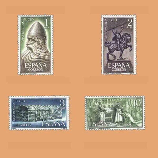Edifil 1444-1447. Serie Rodrigo Díaz de Vivar. El Cid. 4 valores. ** 1962
