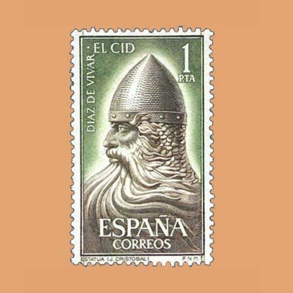 Edifil 1444. Escultura de El Cid por Juan Cristobal en Burgos. Sello 1 pta. ** 1962