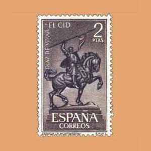 Edifil 1445. Escultura de El Cid por Ana Hurtigton en Sevilla. Sello 2 ptas. ** 1962