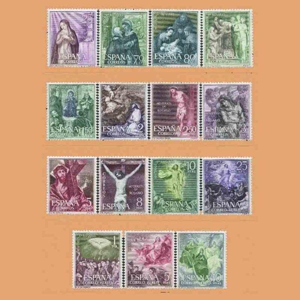 Edifil 1463-1477. Serie Misterios del Santo Rosario. 15 valores. ** 1962