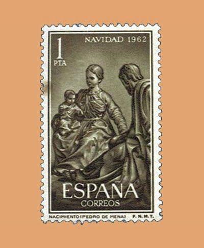 Edifil 1478. Nacimiento por Pedro de Mena. Sello 1 pta. ** Navidad 1962