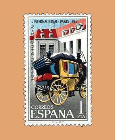 Edifil 1508. Centenario de la Primera Conferencia Postal Internacional. Sello 1 pta. ** 1963