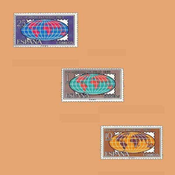Edifil 1509-1511. Día Mundial del Sello. 3 valores. ** 1963