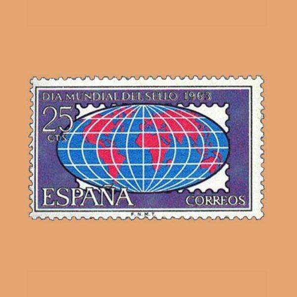 Edifil 1509. Día Mundial del Sello. Sello 25 cts. ** 1963