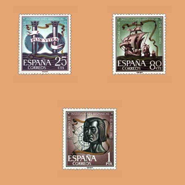 Edifil 1513-1515. Serie Congreso de Instituciones Hispánicas. 3 valores. ** 1963