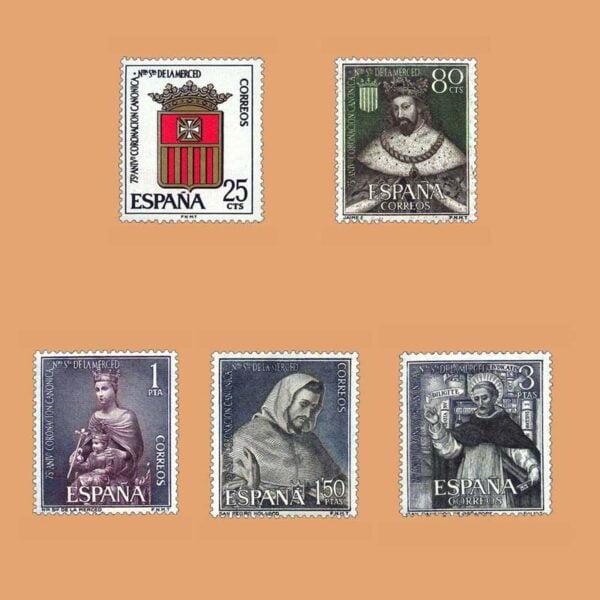 Edifil 1521-1525. Serie LXXV Aniversario de la Coronación de Nuestra Señora de La Merced. 5 valores. ** 1963