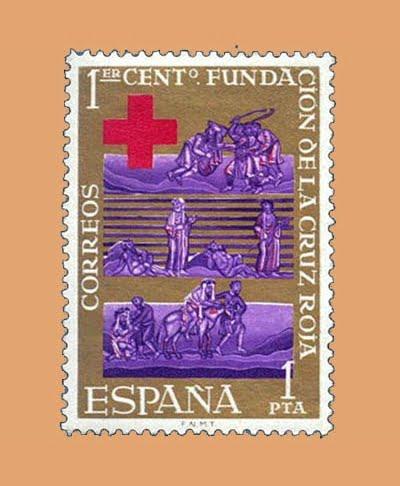 Edifil 1534. Centenario de la Cruz Roja. Sello 1 pta. ** 1963