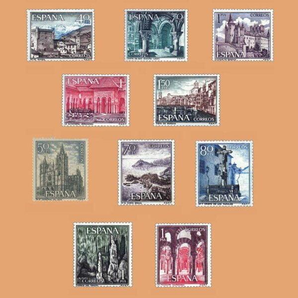 Edifil 1541-1550. Serie Turística. Paisajes y Monumentos. Grupo I. 10 valores. ** 1963