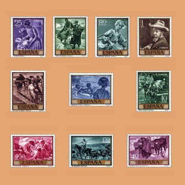 Edifil 1566-1575. Serie Joaquín Sorolla. 10 valores. ** 1964