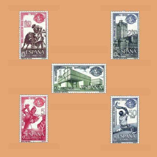 Edifil 1590-1594. Serie Feria Mundial de Nueva York. 5 valores. ** 1964