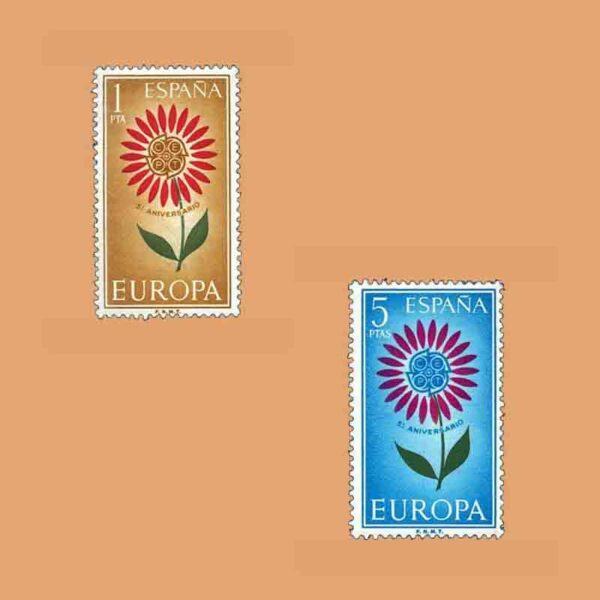 Edifil 1613-1614. Serie Europa. V Aniversario de la CEPT. 2 valores. ** 1964