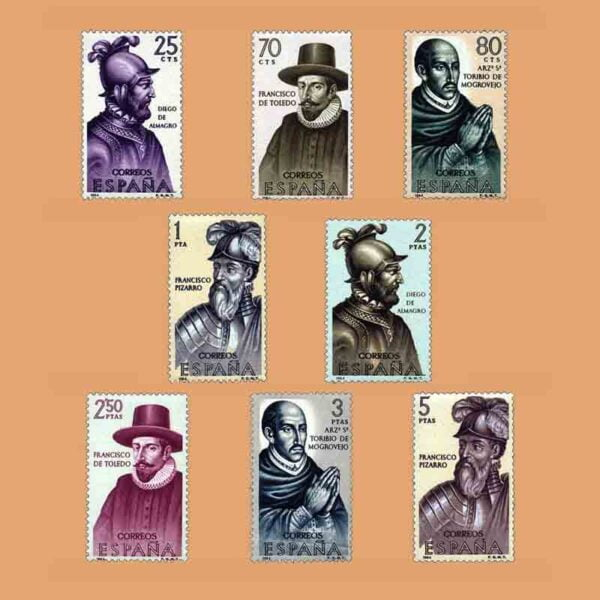 Edifil 1622-1629. Serie Frojadores de América. 8 valores. ** 1964