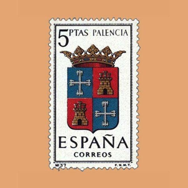 Edifil 1631. Escudos de Capitales de Provincias. Palencia. Sello 5 ptas. ** 1965