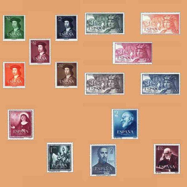 Edifil 1106-1120 Sellos Año 1952 completo. 2º Centenario. 5 Series ** Nuevo