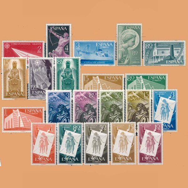 Edifil 1185-1205 Sellos Año 1956 completo. 2º Centenario. 8 Series ** Nuevo