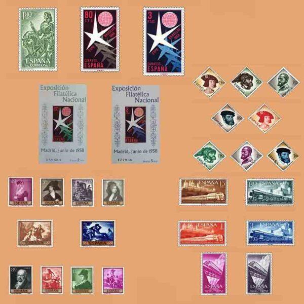 Edifil 1209-1237 Sellos Año 1958 completo. 2º Centenario. 6 Series ** Nuevo