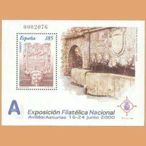 Edifil 3716. Hoja Bloque Exposición Filatélica Nacional EXFILNA. Sello 185 ptas. ** 2000