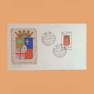 Edifil 1701PD. Escudo Zaragoza 1966. Sobre Primer Día