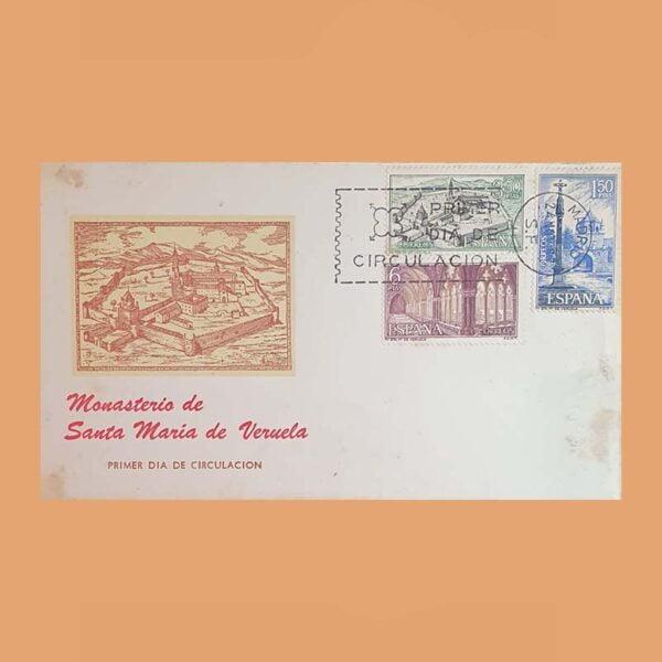 Edifil 1834/6 PD. Monasterio de Veruela 1967. Sobre Primer Día