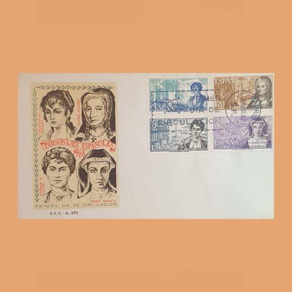 Edifil 1864/7 PD. Personajes Españoles 1968. Sobre Primer Día