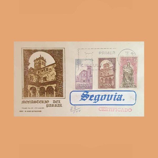 Edifil 1894/6 PD. Monasterio del Parral 1968. Sobre Primer Día