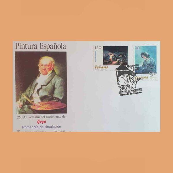 Edifil 3437/40 PD. Francisco de Goya 1996. Sobre Primer Día