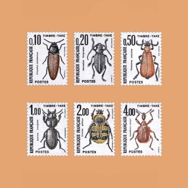 1983 Francia Serie 103/8 Taxe. Insectos