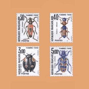 1983 Francia Serie 109/12 Taxe. Insectos