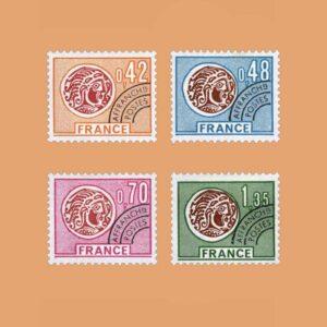 1975 Francia Serie 134/7 Preobliterados. Monedas galas